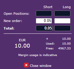 Margin calculator window