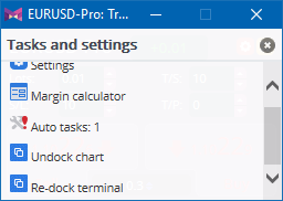 Task and settings window