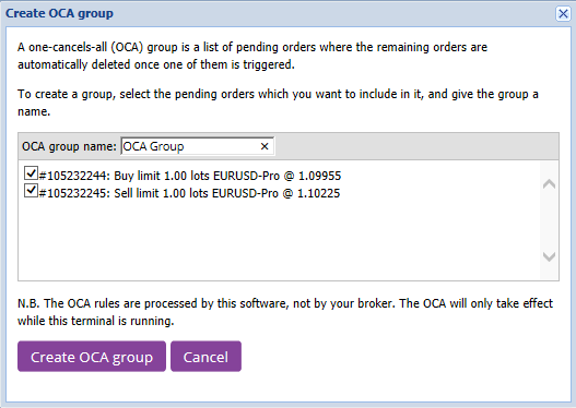 Create OCA group window