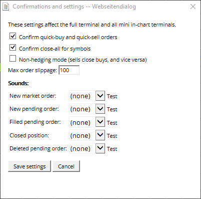 Confirmations and Settings window